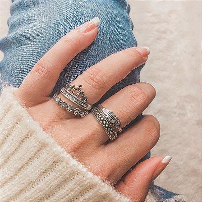 Conjunto de anéis com 4 peças, boho, prateado envelhecido - REF K054