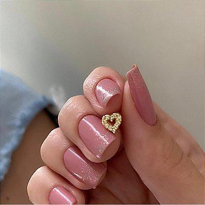 Piercing de furo, pino, love strass, dourado - REF X097