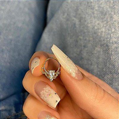 Piercing de furo, argolinha crispy, dourada - REF X103