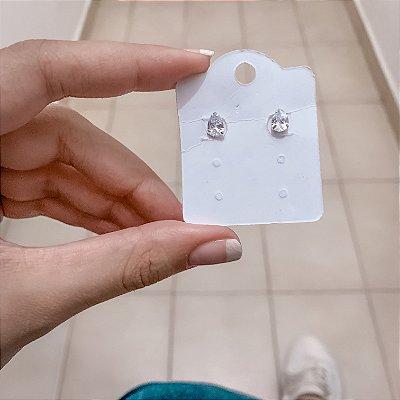 Brinco mini, tassi, translúcido, prateado - REF B485
