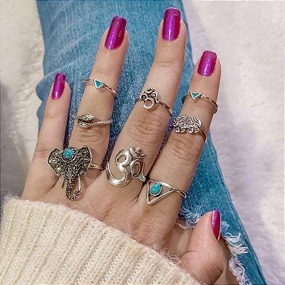 Conjunto de anéis com 8 peças, bohemia, prateado envelhecido, R$ 2,48 cada anel - REF K056