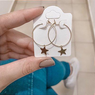 Brinco argola média, bohemia, stars, dourada - REF B619
