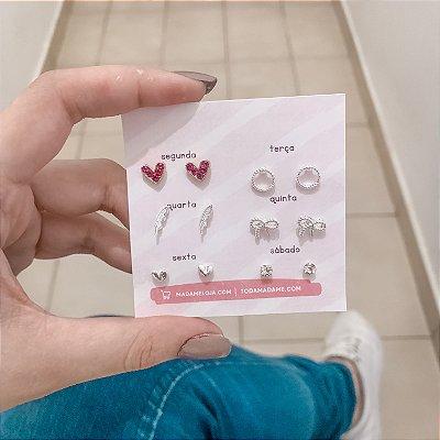 Kit de brincos, bohemia, heart, 6 pares, R$ 4,15 o par, dourado e prateado - REF B631