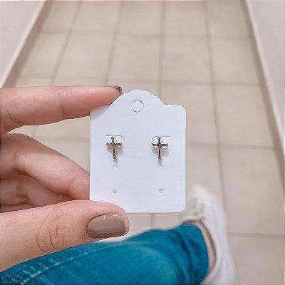 Brinco mini cruz, prateado - REF B646