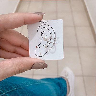 Piercing fake, bohemia, pérola, prateado - REF X144