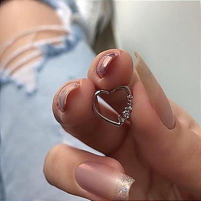 Piercing de furo, argolinha, coração love, prateado - REF X148