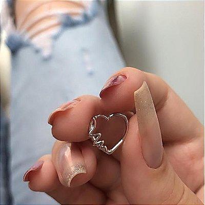 Piercing de furo, argolinha, coração batimentos, prateado - REF X149