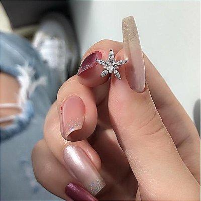 Piercing de furo, pino, flor, prateado - REF X163