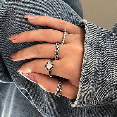 Conjunto de anéis com 4 peças, lua de mel, translucido, prateado - REF K058