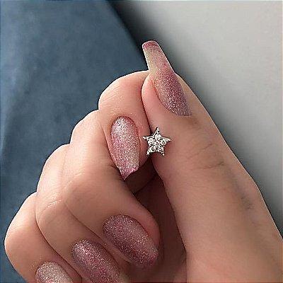 Piercing de furo, pino, estrela, prateado - REF X181