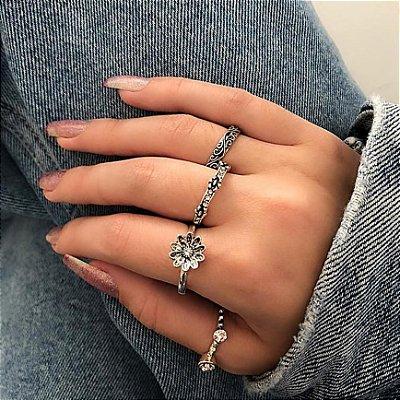 Conjunto de anéis com 4 peças, tulip, prateado - REF K060