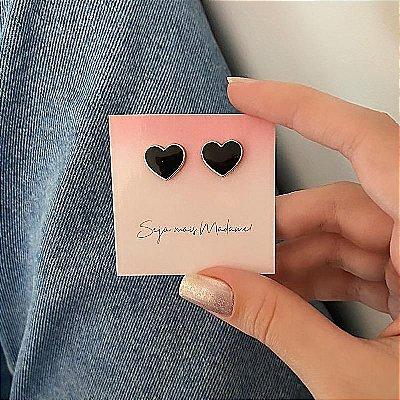 Brinco cute, love, black, prateado - REF B714
