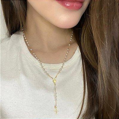 Correntinha, terço dourado com pérolas - REF C001