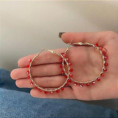 Brinco argola média, amanda, navete, 5cm, vermelha, dourada - REF B744