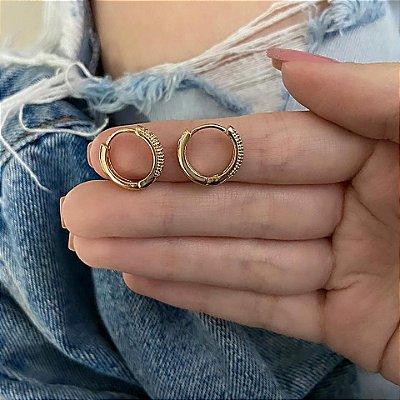 Brinco mini argola, amanda, elo I, dourado - REF B747