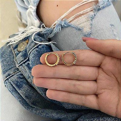 Brinco mini argola, amanda, elo III, dourado - REF B749