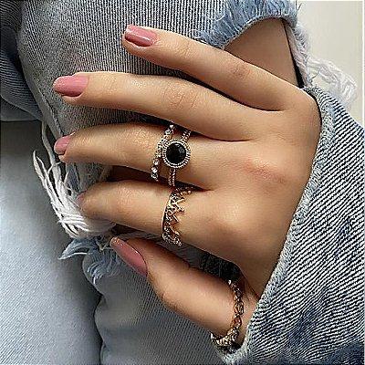 Conjunto de anéis com 4 peças, lua de mel, black, dourado - REF K062