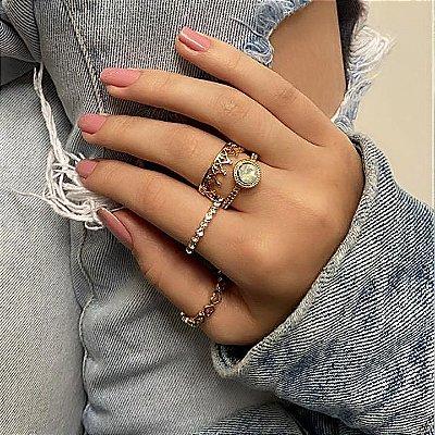 Conjunto de anéis com 4 peças, lua de mel, translúcido, dourado - REF K063