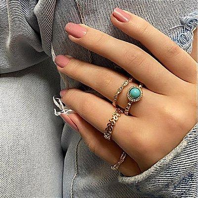 Conjunto de anéis com 4 peças, índia, azul royal, dourado - REF K064