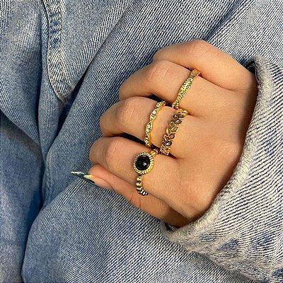 Conjunto de anéis com 4 peças, índia, black, dourado - REF K065