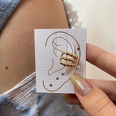 Piercing ear cuff, cravo, duplo, dourado - REF B796