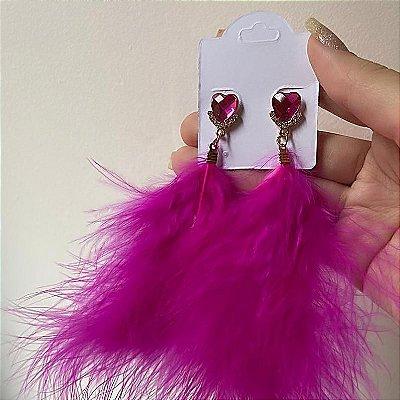 Brinco pena, letícia, rosa pink, dourado - REF B803