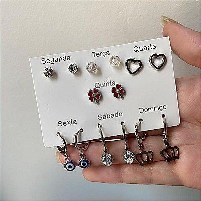 Kit de brincos, 7 pares, letícia, semana, prateado, vermelho, R$ 4,30 o par - REF B811