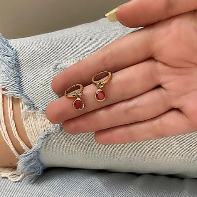 Brinco mini argolinha, amanda, circle, rosa, dourado - REF B821