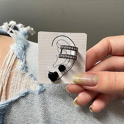Kit de brincos c/ ear cuff de pressão, madri, 3 peças, preto, ródio negro - REF B840