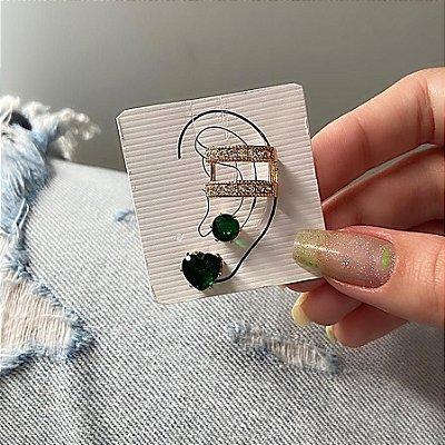Kit de brincos c/ ear cuff de pressão, madri, 3 peças, verde, dourado - REF B842