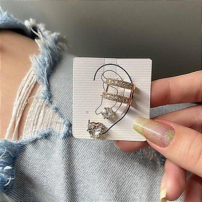 Kit de brincos c/ ear cuff de pressão, madri, 3 peças, incolor, dourado - REF B843