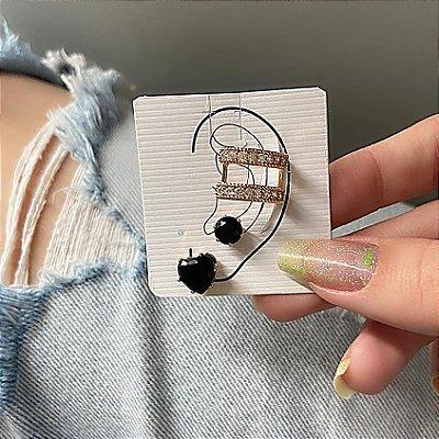 Kit de brincos c/ ear cuff de pressão, madri, 3 peças, preto, dourado - REF B846