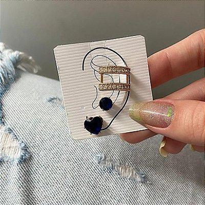 Kit de brincos c/ ear cuff de pressão, madri, 3 peças, preto, dourado - REF B849