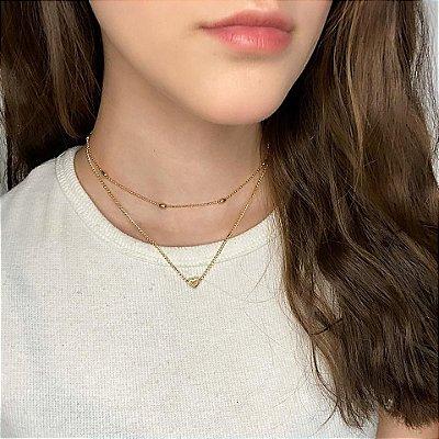 Colar duplo, bohemia, love, dourado - REF C059