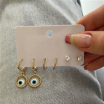 Kit de brincos, 3 pares, amanda, olho grego, dourado, R$ 4,96 o par - REF B865