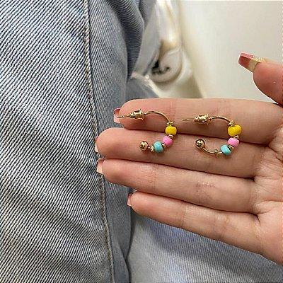Brinco mini argola, letícia, verano III, dourada - REF B881