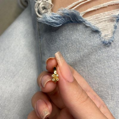 Piercing de furo, argolinha, cute, dourada - REF X214
