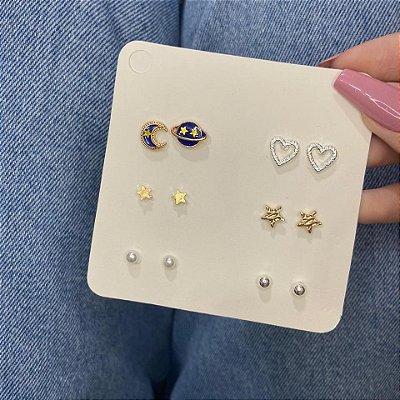 Kit de brincos, bohemia, planeta, 6 pares, R$ 4,15 o par, dourado e prateado - REF B883
