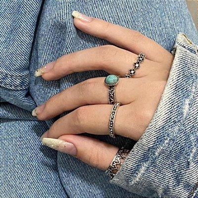 Conjunto de anéis com 4 peças, turquesa, prateado - REF K066