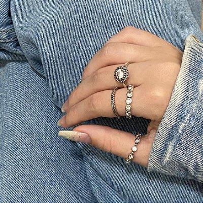 Conjunto de anéis com 4 peças, glória, prateado envelhecido - REF K067