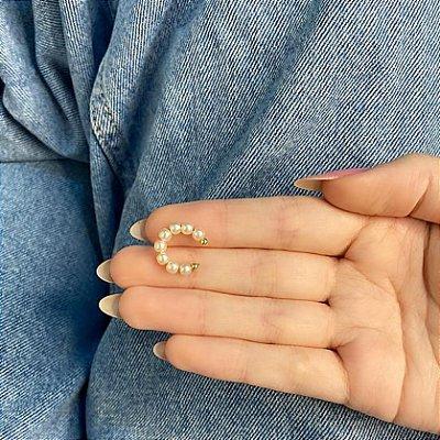 Piercing fake, pérola, dourado, tam. P - REF X239