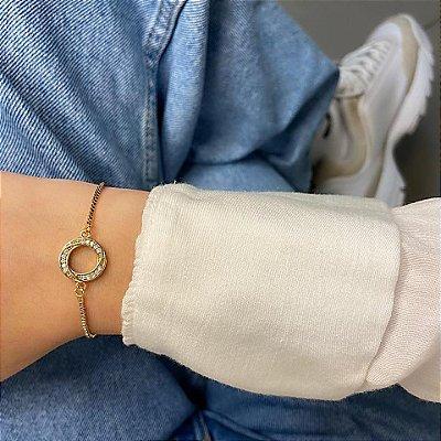 Pulseira amanda, círculo (eternidade), dourada - REF P662