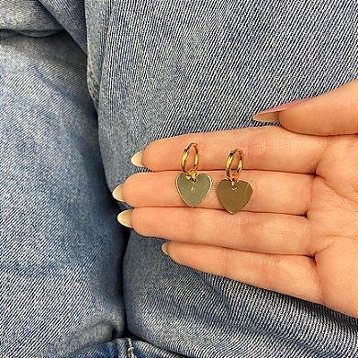 Brinco amanda, mini argola, love premium, dourado - REF B925