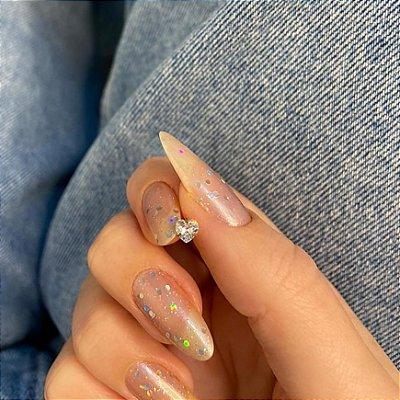 Piercing de furo, pino, brilho love, dourado - REF X245