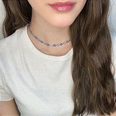 Choker afrodite, olho grego, escama, azul clara, prateada - REF C221