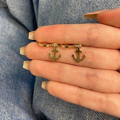 Brinco amanda, mini argolinha, âncora, dourado - REF B939