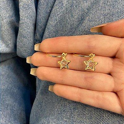 Brinco argola amanda, chuva de estrelas, dourada - REF B943