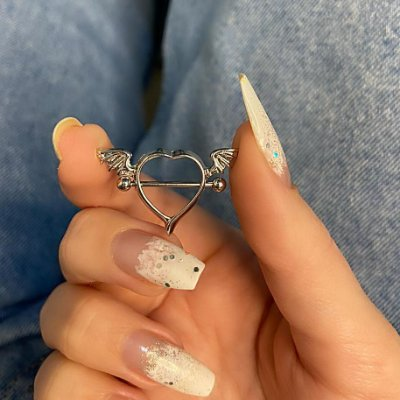 Piercing de furo, mamilo, coração (com asas), prateado - REF X254