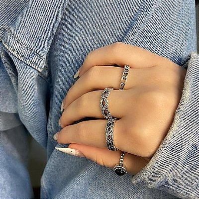 Conjunto de anéis com 4 peças, califórnia, preto, prateado envelhecido - REF K076