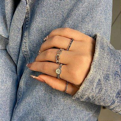 Conjunto de anéis com 4 peças, miami beach, prateado envelhecido - REF K078